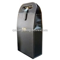 Classical Black Color Double Wine Bottle Carrier Box, Wine Carrier Bag