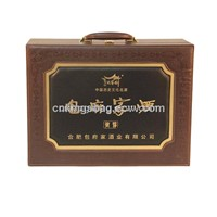Classical Style Leather Wine Box Holds 2 Wine Bottles