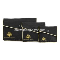 Classicla Black Satin Jellwery Pouch with Flap, Nice Jewellery Packaging Silk Made