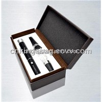 Custom Made Leather Box Three Pieces Wine Set