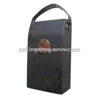 Double Wine Bottles PU Leather Wine Box Wine Carrier Box