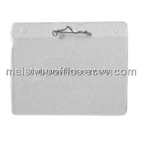 Horizontal clear vinyl badge holder with safety pins