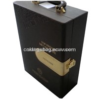 Unique Desing Leather Wine Carrier Box, China Supplier Leather Wine Box(Two Wine Bottle)