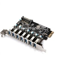 7 Port PCI Express PCIe Super Speed USB 3.0 Controller Card Adapte with 15pin SATA Power Connector