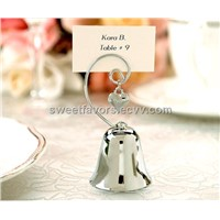 Charming Chrome Bell Place Card/Photo Holder with Dangling Heart Charm wedding favors wedding gifts