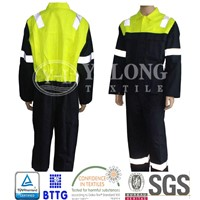 Fluorescent yellow high visibility jacket with reflective strip