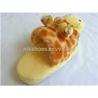 Kids Plush Slippers with Animal Giraffe Style