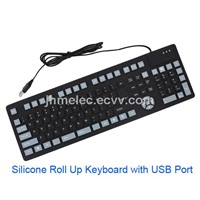Silicone Roll Up Keyboard with USB Port