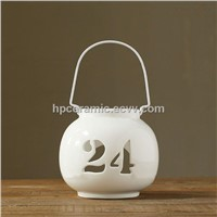 White Ceramic Candle Lamps With Number, Tealight holders