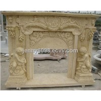 Yellow Marble Fireplace with Angel Child