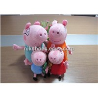 peppa pig & george pig with teddy bear plush cartoon toys Mom & Daddy