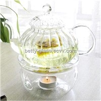 1000ml Striped Glass Teapot Set 8pcs/set / 6pcs Double-wall Cup and One Glass Teapot