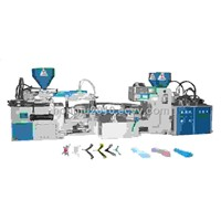 Full-Automatic  Plastic 3 color shoelace & Sole  Injection Moulding Machine