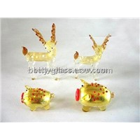 Lamp Blown Craft Glass Animal Glod Foil Animal Handmade Beautiful Friend Gits