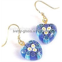 Glass Jewelry / Glass Eardrop with Blue Heart Drop