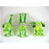 Handmade Glass Material Small Animals Glass Frog Set Lamp Blown Craft Color Glass Figurines