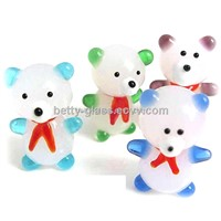 Beautiful White Jade Glass Glass Small Animal Glass Material Bear Friend Gift China Supplier