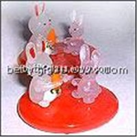 Jade Pink Glass Material Rabbits with Glass Base Handmade Glass Figurine