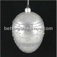 Silver Glass Ball Holiday Gift Clear Glass Christmas Ball