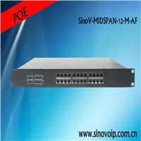 12 Ports 10/100M PoE Injector 48V 15.4W for small and middle business
