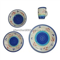 16-piece Stoneware Hand-painted Dinnerware Sets, Microwave and Dishwasher Oven Safe