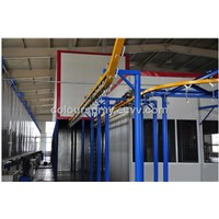 Automatic powder coating line for mass production
