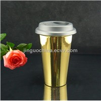 Ceramic double wall gold mug