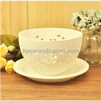 Cutting Ceramic Tea Light Holder, Candle Bowl