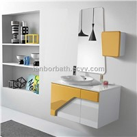 Hot sale cheap waterproof wall hanging wooden bathroom furniture with bath mirror sets FS1304