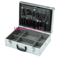 Plastic Handle Aluminum Hand Tool Boxes 460*330*150mm , Silver ABS Tool Case