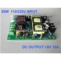 Small LED Display 5V10A50W Power Supply,110~240VAC