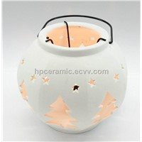 White Ceramic Candle Lamp with Tree Shpe Cutting