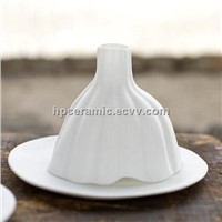 White Ceramic Reed diffuser with debossment, diffuser bottle
