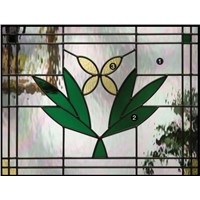 stained glass in  bathroom window