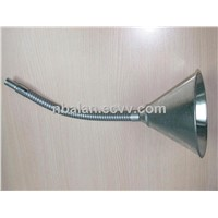 Galvanized metal oil funnel with flexible spout with fliter screen