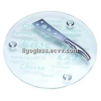Tempered Glass Cheese Board with Feet Pad