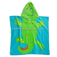 100% cotton velour reactive printing poncho for kids
