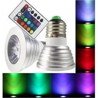 3W 4W E27 RGB LED Bulb 16 Color Change Lamp spotlight 110 to 245v with IR Remote