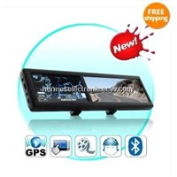 4.3 Inch Bluetooth Rearview Mirror with Built-in GPS with AV IN 4GB load 3D MAP