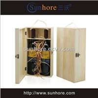 Double Bottle Wood Wine Box
