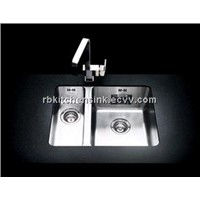 Double bowl stainless kitchen sink