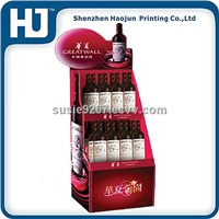Fashion design supermarket paper display stand for different wines