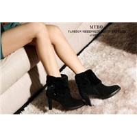 Fashionable Genuine Leather Ladies Black High Heel Shoes