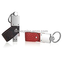 Leather Swivel USB Stick, 512MB to 32GB Capacity, Supports Plug-and-play Function