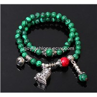 Malachite heart lock beaded bracelets