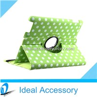 Polka Dot Pattern PU Leather iPad Protect Case for iPad 2/3/4 With 360 Degrees Rotating Stand