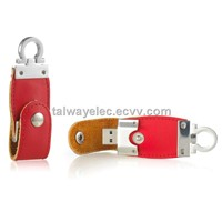 Promotional gifts!!!Leather Keychain USB Flash Drive with Plug-and-play Function