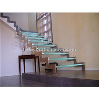 Stainless steel glass wood staircase