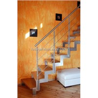Stainless steel straight stringer glass staircase