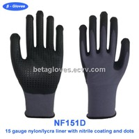 Super thin foam nitrile gloves with nitrile dots on palm
